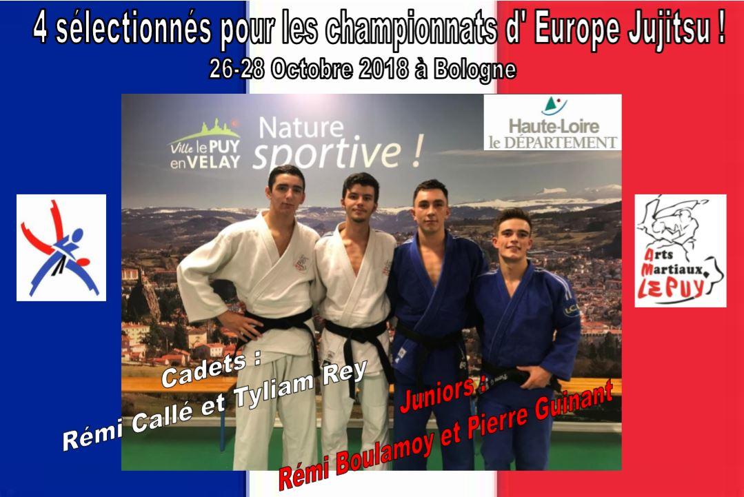 4 sélectionnés pour les championnats d'Europe Jujitsu